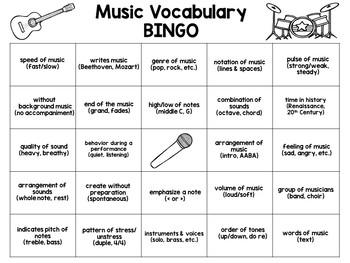 Music Vocabulary BINGO