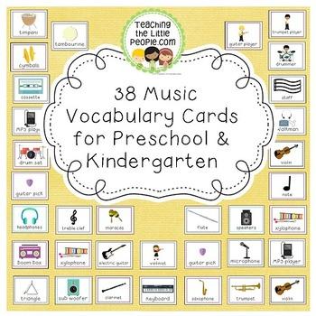 Music Vocabulary Cards for Preschool and Kindergarten