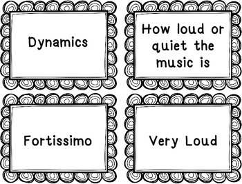 Music Vocabulary Cards for Tempo and Dynamics