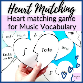 Music Vocabulary Heart Matching Game for Music Centers