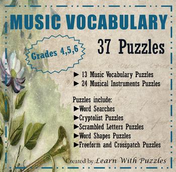 Music Vocabulary + Instrument Puzzles - 37 UNIQUE Puzzles Gr  4-6