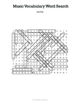 Elementary Music Word Search Puzzle