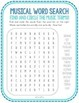 Music Vocabulary Word Search, Spelling, Clef, Pitch, Sound, Note