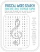 Musical Terms Word Search - Back to School!  Clef, theme, note, and more.