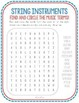Music Vocabulary Word Search, String Instruments, Spelling, Violin, Cello, Harp