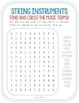 String Instruments Word Search!  Great for Back to School!