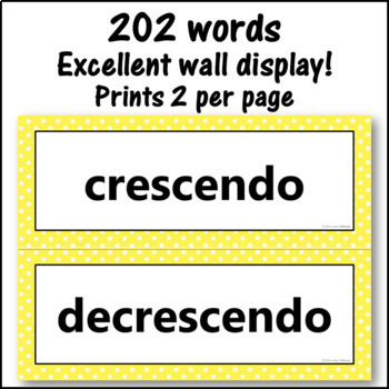 Music Word Wall {Music Room Décor} yellow
