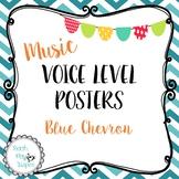 Music Voice Level Posters -Dynamics - Blue Chevron