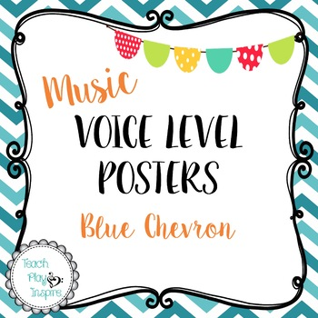 Music Voice Level Posters -Dynamics - Blue Chevron