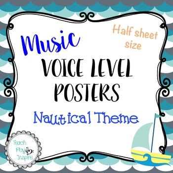 Music Voice Level Posters (Half Sheet Size)- Dynamics - Blue/gray Nautical Theme