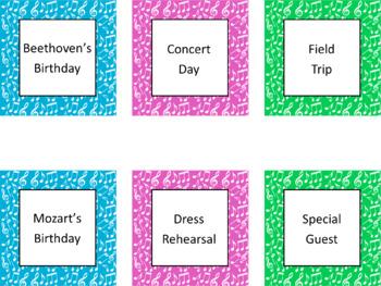 Music Wall Calendar Pieces