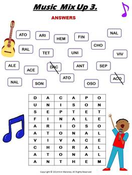 Music Word Mix Up Puzzles