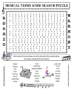 Music Word Search Puzzle (Musical Terms)