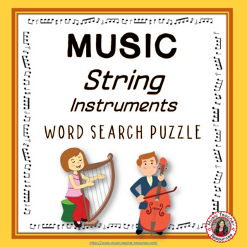 Music Word Search: String Music Instruments:  World Music