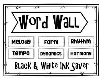 Music Word Wall Black & White Ink Saver