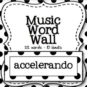 Music Word Wall (Black and White Polka Dot