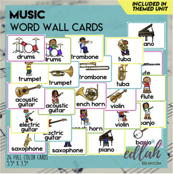Music Word Wall Cards (set of 7)