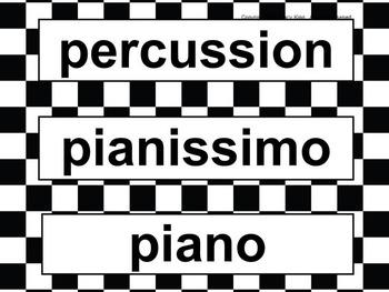 Music Word Wall - Checkered Flag
