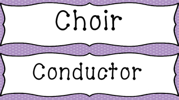 Music Word Wall-Choral/Vocal/Orchestra (Purple Background)