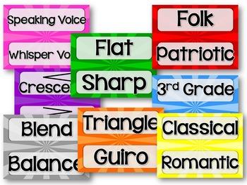 Music Word Wall {Color Burst/Rock Star Theme}
