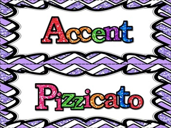 Music Word Wall -  Dynamics and Articulation Set in glittery lavender