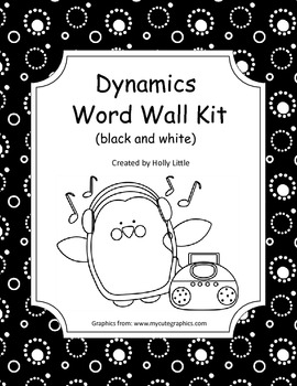 Music Word Wall - Dynamics (black and white)