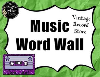 Music Word Wall {Editable} {Vintage Record Store} Rainbow Glitter