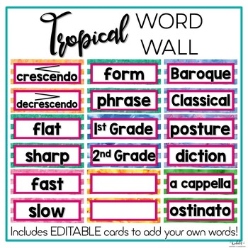 Music Word Wall {Tropical Theme}
