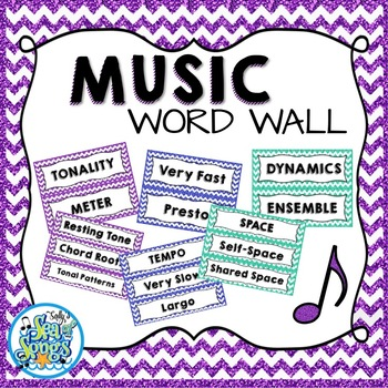 Music Word Wall - Glitter & Chevrons
