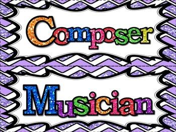 Music Word Wall - Glittery Music Mega Set in lavender