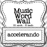 Music Word Wall (Grey Chevron)