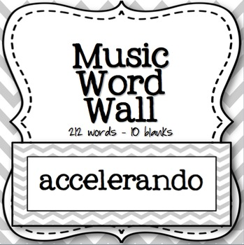Music Word Wall (Grey Chevron)