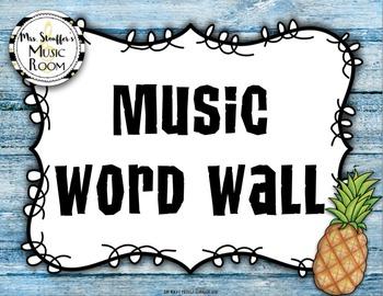 Music Word Wall {Hawaiian Beach} {Editable}