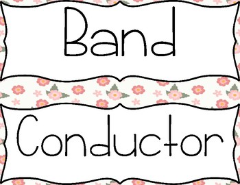 Music Word Wall-Instrumental-Floral Background
