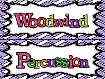 Music Word Wall -  Instruments/Families Set in glittery lavender