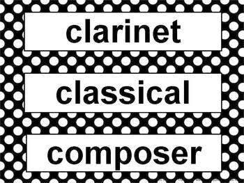 Music Word Wall Kit Black and White Polka Dots