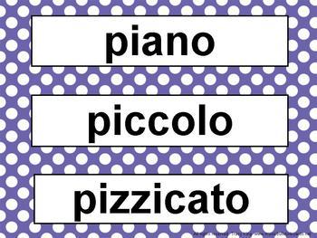 Music Word Wall Kit Blue Polka Dots