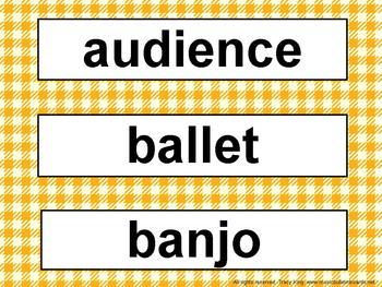 Music Word Wall Kit Orange Gingham