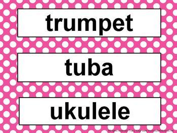 Music Word Wall Kit Pink Polka Dots