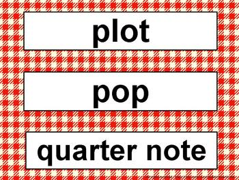 Music Word Wall Kit Red Gingham