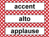 Music Word Wall Kit Red Polka Dots