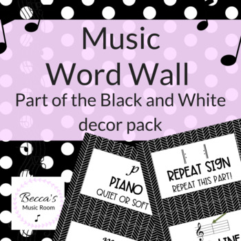 Music Word Wall | Music Bulletin Board Display | Black and White Music Decor