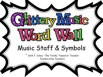 Music Word Wall -  Music Staff and Symbols Set in glittery lavender