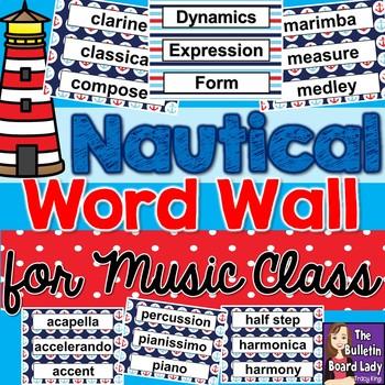 Music Word Wall - Nautical Theme