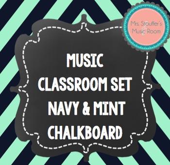 Music Word Wall {Navy & Mint Chevron Chalkboard Theme}