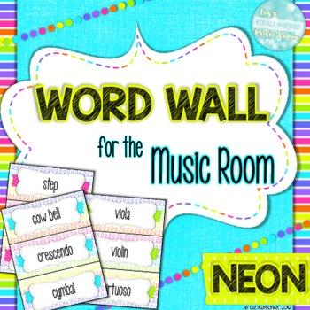 Music Word Wall: Neon