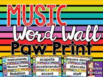 Music Word Wall Paw Prints Theme