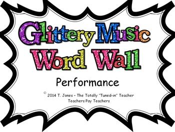 Music Word Wall -  Performance Set in glittery lavender