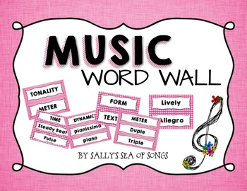 Music Word Wall - Pink & Gingham - Coordinates with Teal &