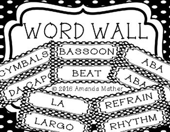 Music Word Wall - Polka Dots